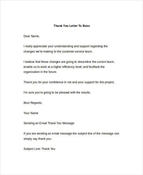 7+ Thank-You Letter Templates to Boss - Free Sample, Example Format