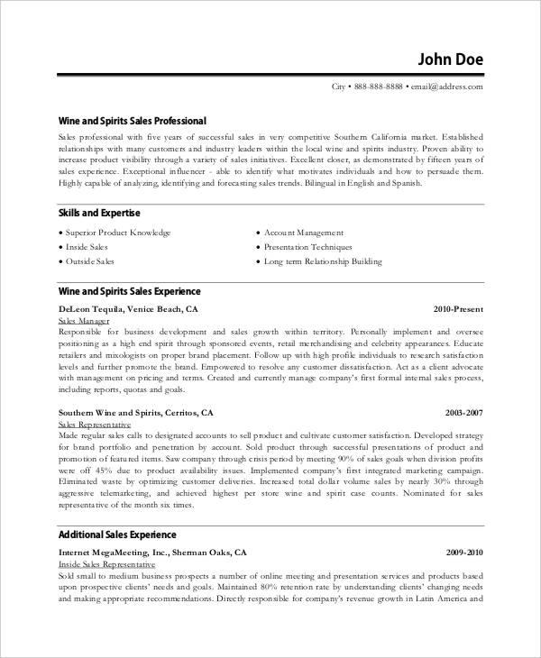Sales Executive Resume Templates - 9+ Free Word, PDF Format - sales executive resume
