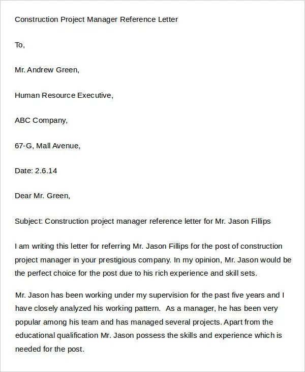 Job Reference Letter Of Recommendation Samples  Professional