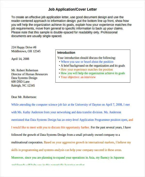 10+ Cover Letter Templates and Examples - Free Word, PDF Format - what should be in a cover letter
