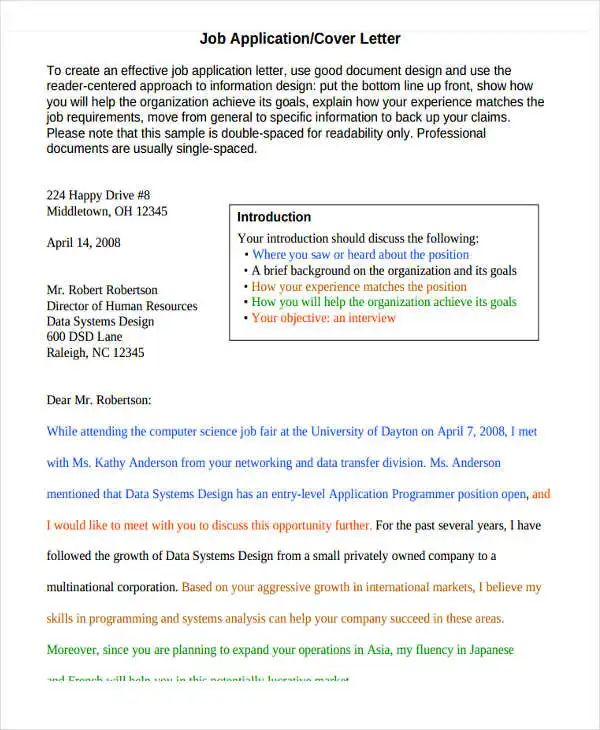 how to do a cover letter for job application