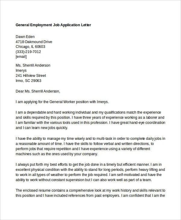 10+ Job Application Letter Templates for Employment - PDF, DOC - application for employment