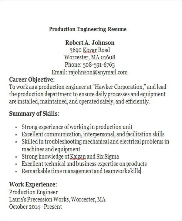 resume format for production engineer