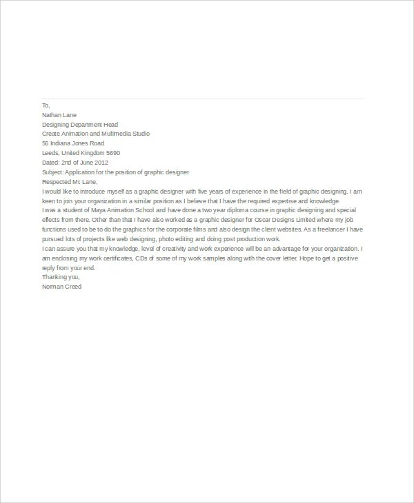 7+ Job Application Letters For Graphic Designer - Free Word, PDF - application cover letter