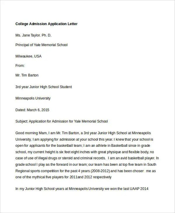 College Application Letter Templates - 9+ Free Word, PDF Format - college application letter