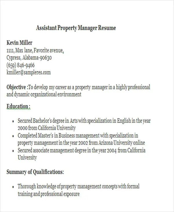 Resume Property Manager [Template.billybullock.us ]