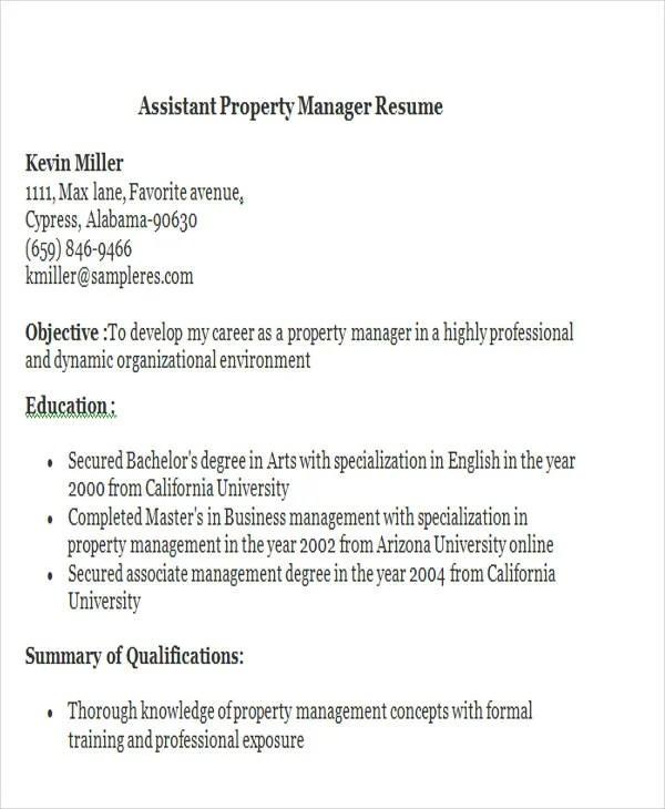 32+ Manager Resume Templates - PDF, DOC Free  Premium Templates - assistant property manager resume