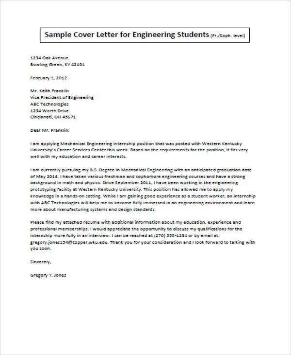 Job Application Letter For Engineer - 11+ Free Word, PDF Format - Email For Job Application With Resume