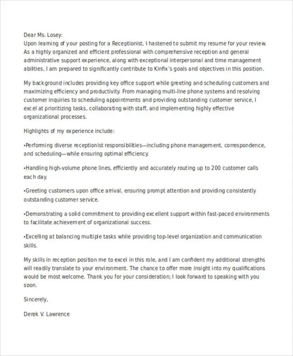 Receptionist Cover Letter Pdf - Receptionist Cover Letter Example