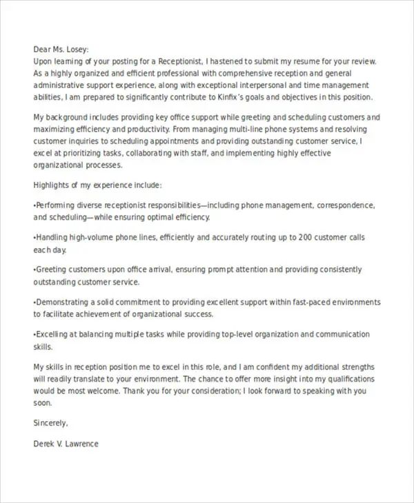 example job application cover letters
