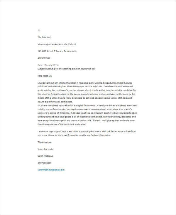Job Application Letter English Teacher - english teacher job description