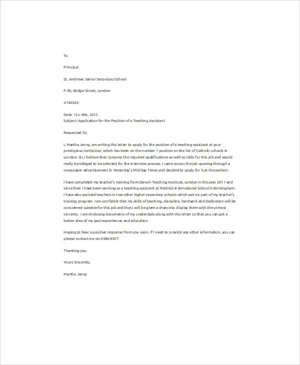 Job Application Letter Format Samples Examples 32 Job Application Letter Samples Free And Premium Templates
