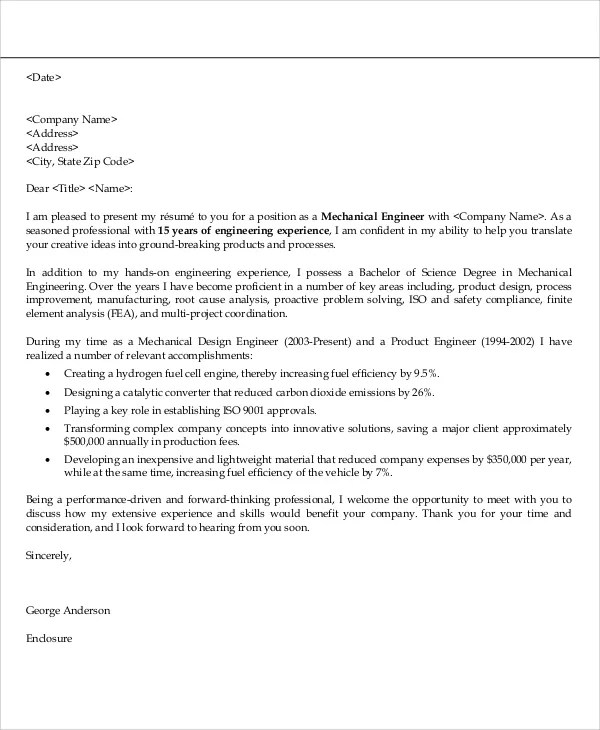 32+ Job Application Letter Samples Free  Premium Templates - cover letter for engineering