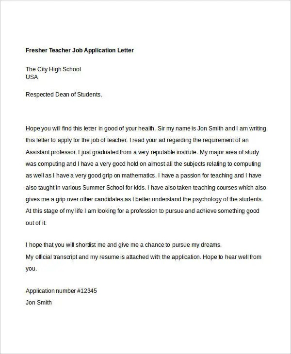 40+ Job Application Letters Format Free \ Premium Templates - application letter format