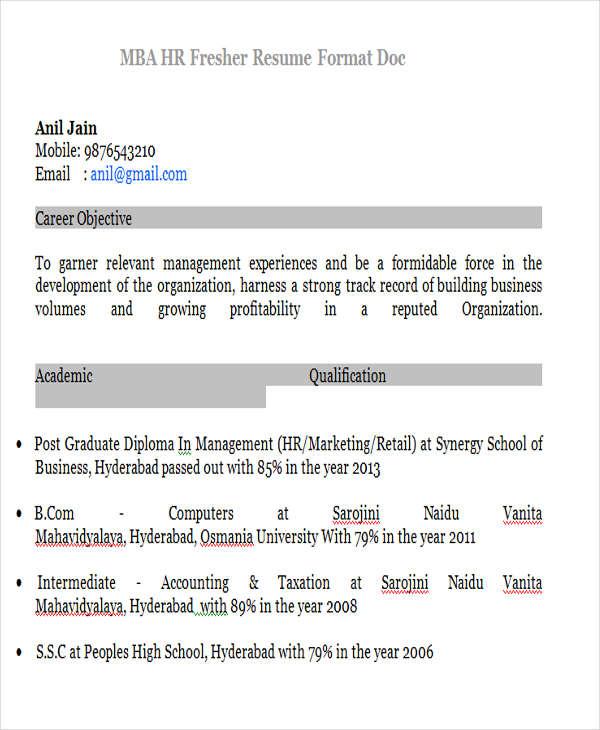 23+ Modern Fresher Resume Templates Free  Premium Templates