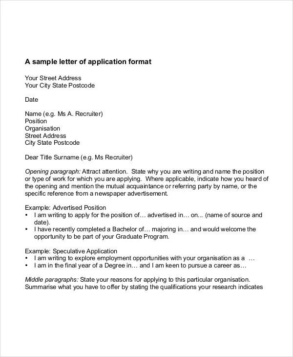 Job Application Letter In Word Format - Job Application Letter Format