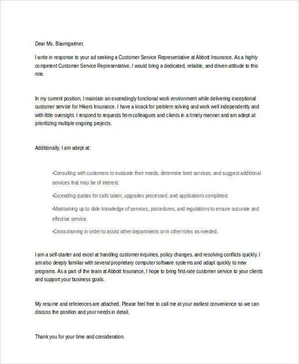 cover letter service industry