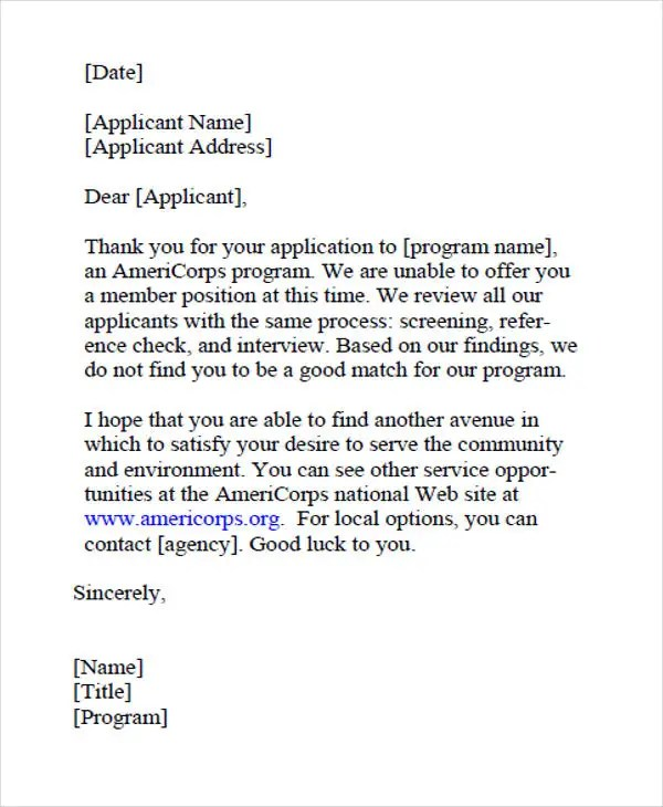 9+ Job Application Rejection Letters Templates for the Applicants - Employment Rejection Letter
