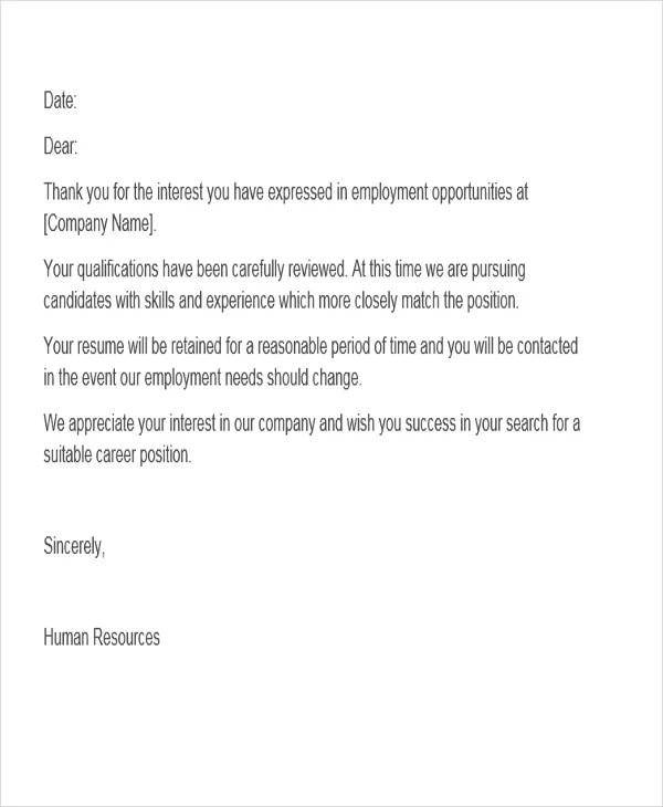 job candidate rejection letter - Goalgoodwinmetals - employment rejection letter