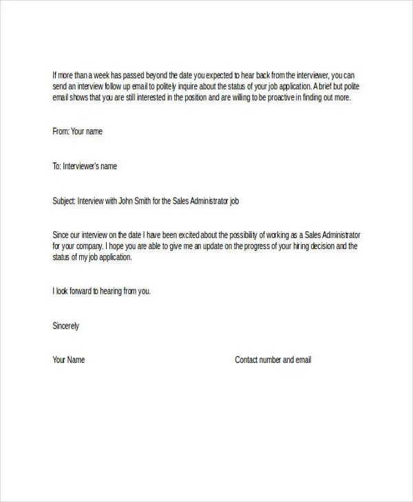 Follow Up Email Template Images Sample Client Follow Up Email - follow up letter for job offer