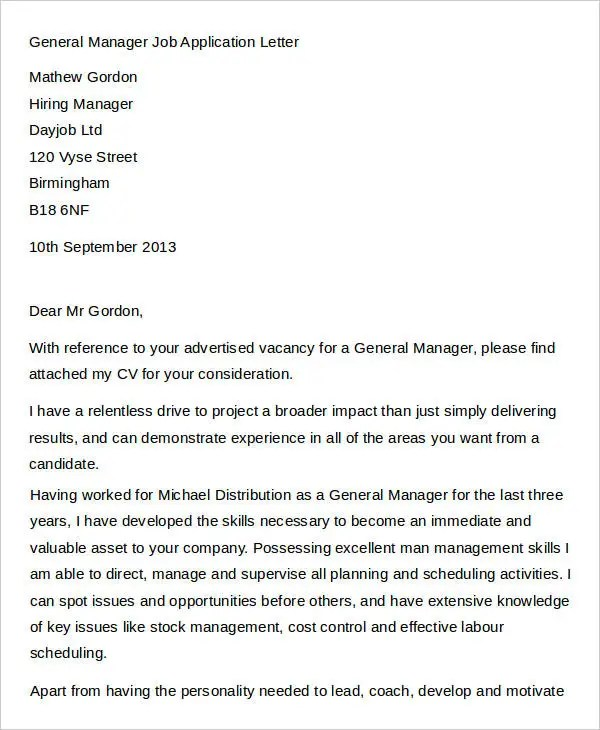 36+ Job Application Letter Templates Free \ Premium Templates - general job applications