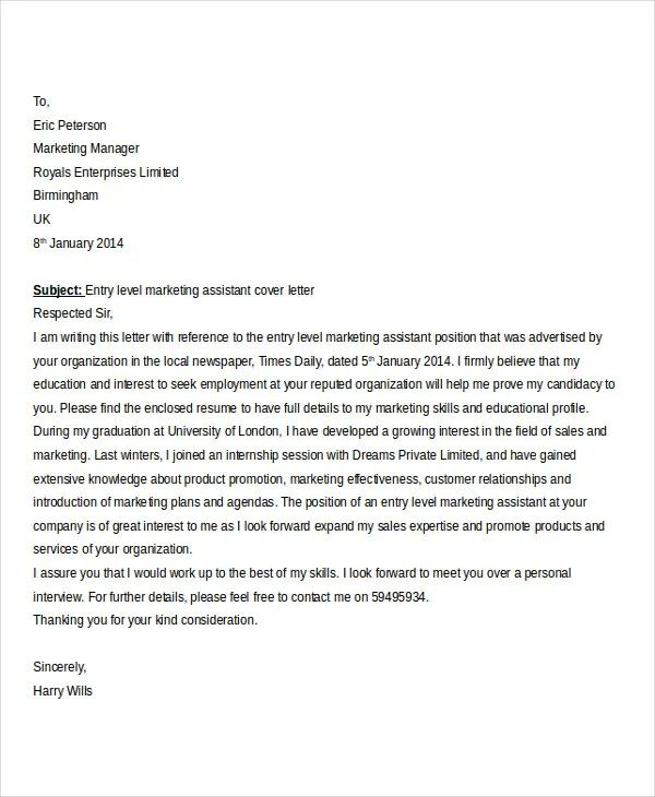 example resume of marketing assistant