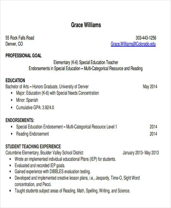 28+ Teacher Resume Templates Download Free  Premium Templates - resume format teacher job