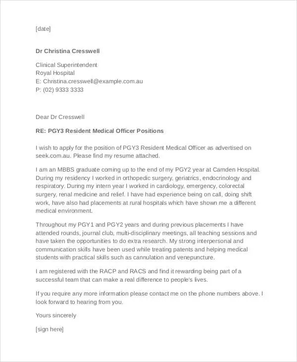 ... 40+ Job Application Letters Format Free \ Premium Templates   Sports Medicine  Doctor Cover Letter ...