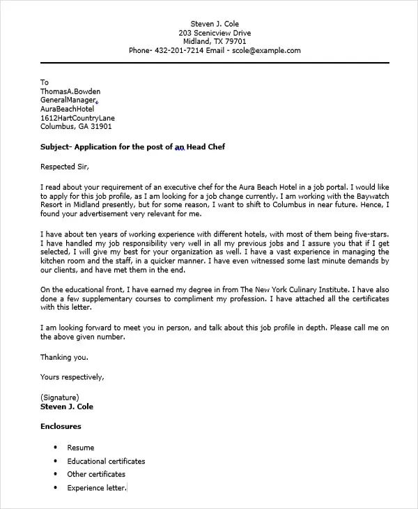 executive level cover letter