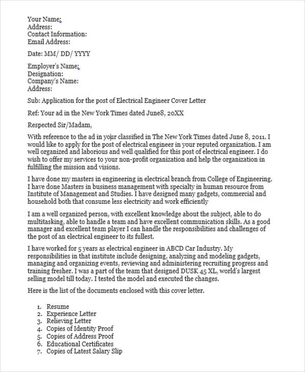 32+ Job Application Letter Samples Free  Premium Templates - engineering cover letter examples
