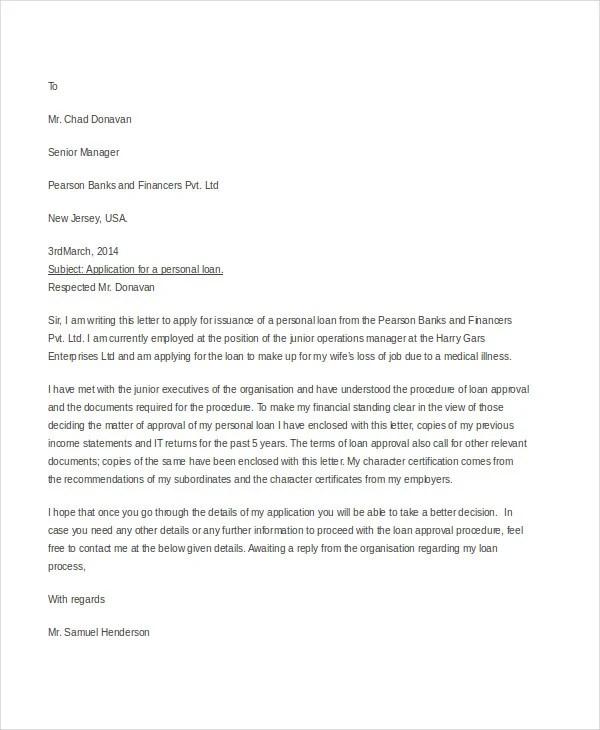 15+ Sample Loan Application Letters - PDF, DOC Free  Premium