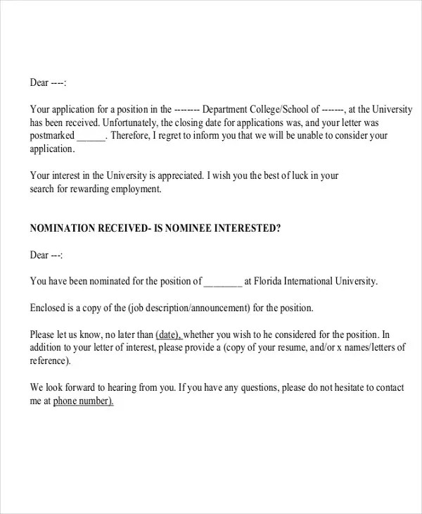 Gallery of Application Response Letter - suggestion letter