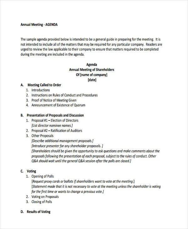 26+ Agenda Format Templates Free  Premium Templates - format for an agenda
