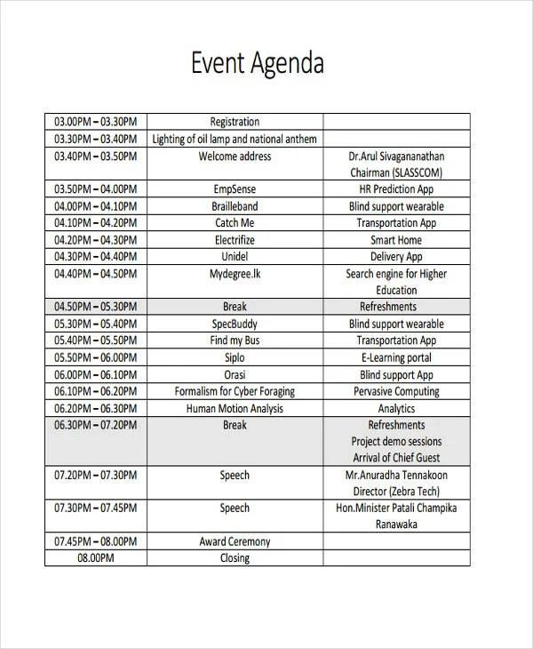 event agenda format - Towerssconstruction