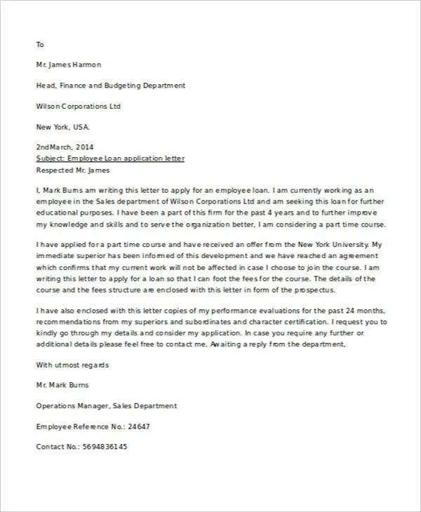 17+ Sample Loan Application Letters - PDF, DOC Free  Premium