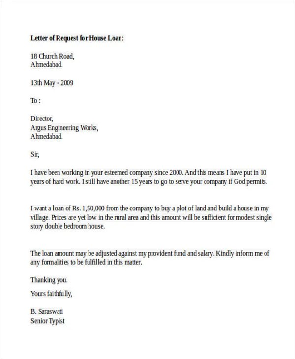 how to write a loan application letter to your company - Canas