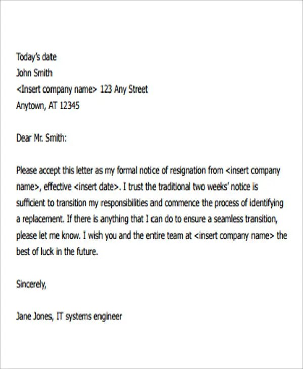 Resignation Letter Format Notice Period - Letter Idea 2018 - resignation letters no notice