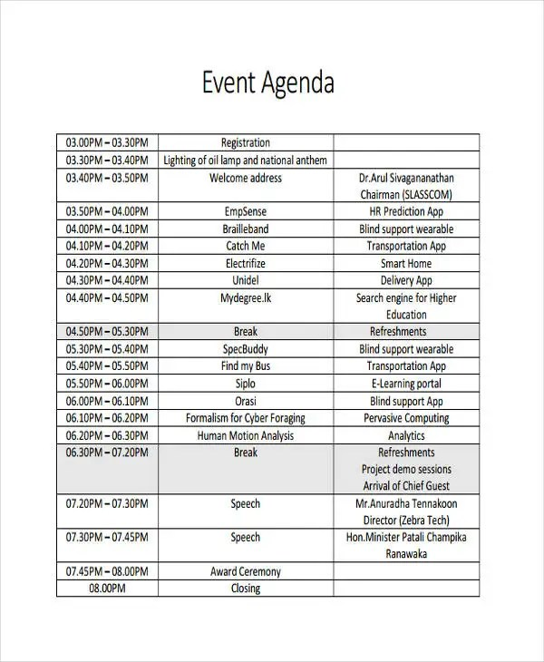 Awesome Event Agenda Sample Ideas  Best Resume Examples By Industry