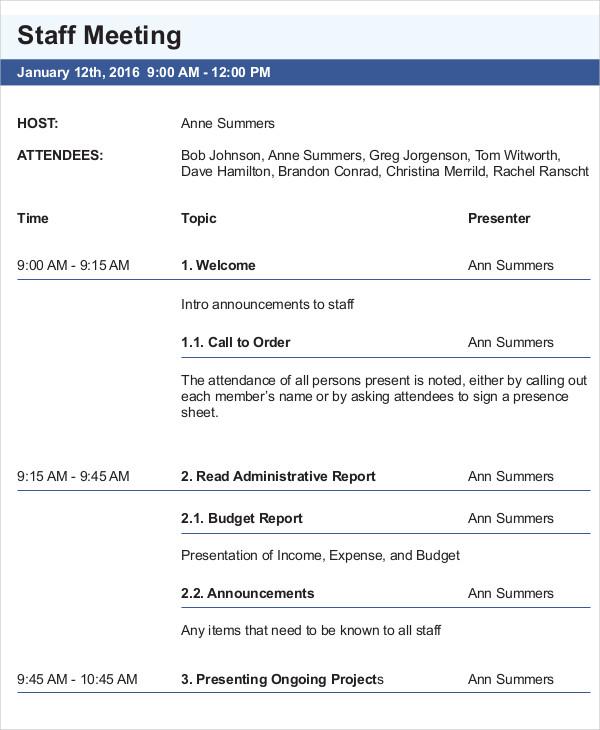 ... 10+ Meeting Agenda Samples   Free Sample, Example Format Download   Staff  Meeting Agenda ...