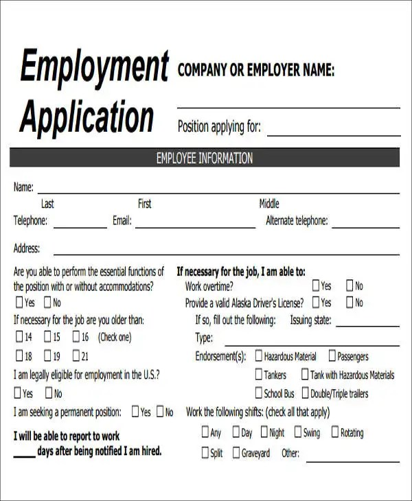 company job application form - Onwebioinnovate - Employment Application Forms