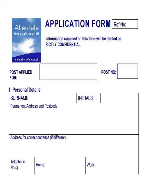 job application form samples - Doritmercatodos
