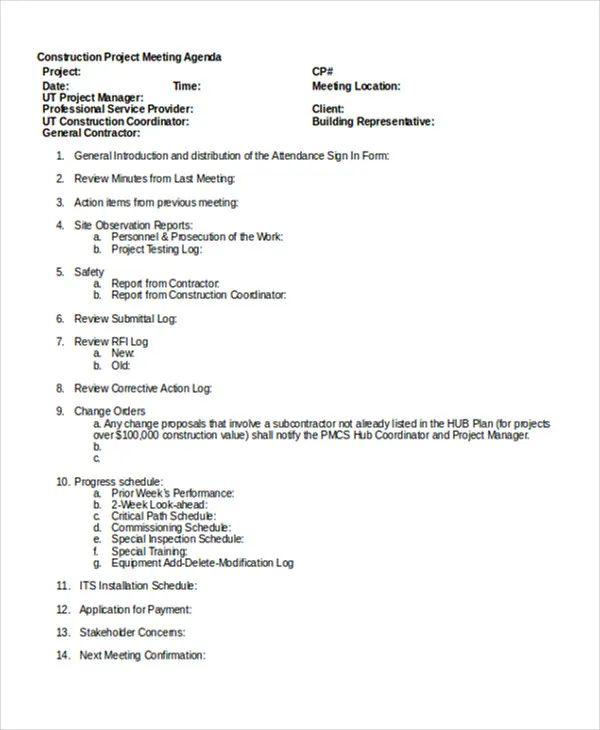 construction project meeting minutes template
