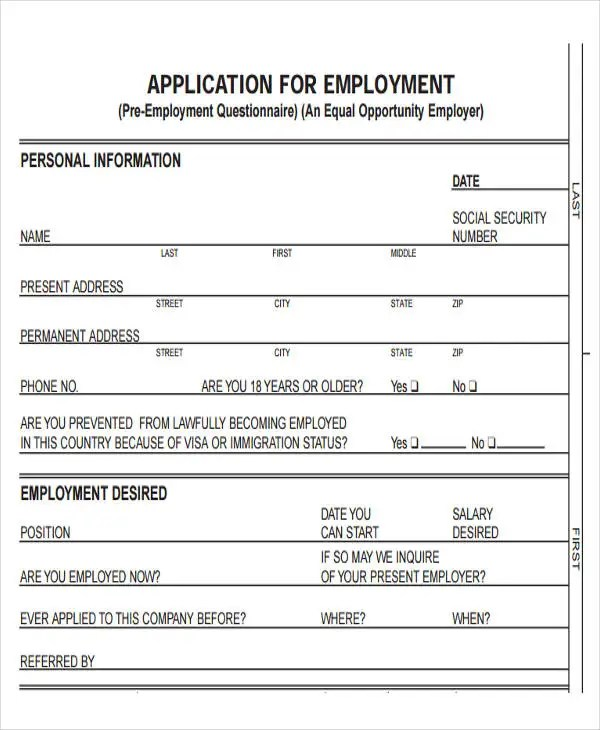 49+ Job Application Form Templates Free  Premium Templates - Job Application Template