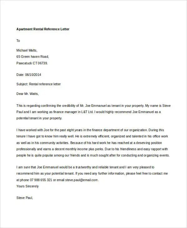 9+ Rental Reference Letter Template - Free Word, PDF Format - rental reference letter