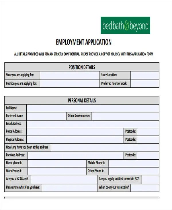 49+ Job Application Form Templates Free  Premium Templates