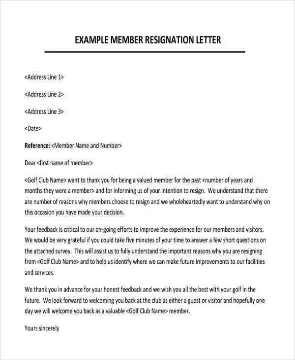 Membership Resignation Letters Template - 12+ Free Word, PDF Format