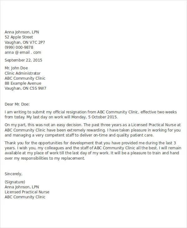 14+ Nurse Resignation Letter Templates - Word, PDF Free  Premium