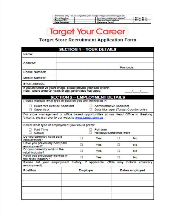 49+ Job Application Form Templates Free  Premium Templates - target job application form
