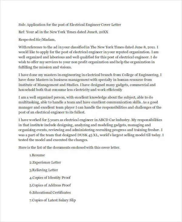 9+ Job Application Letters for Engineer - Free Sample, Example - cover letter for engineering