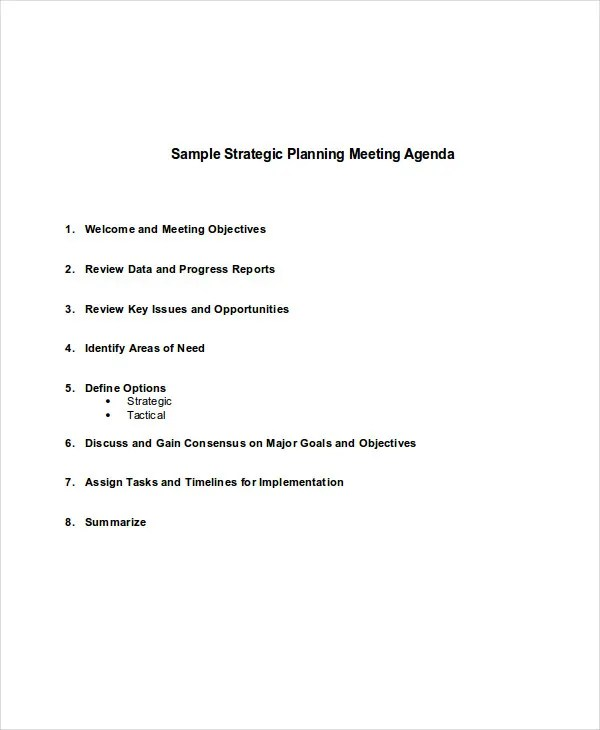 8+ Sample Planning Agenda - Free Sample, Example Format Download - sample meeting agenda 2